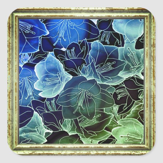 Blue And Green Flowers Square Sticker