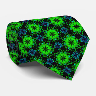 Blue and Green Fractal Pattern Tie