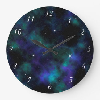 Blue and Green Galaxy Design Wall Clock