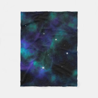 Blue and Green Galaxy Fleece Blanket