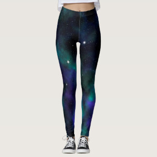 Blue and Green Galaxy Leggings