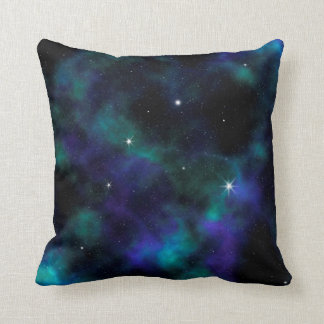 Blue and Green Galaxy Throw Pillow
