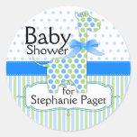Blue and Green Giraffe Boy Baby Shower Round Sticker