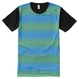 Blue And Green Gradient All-Over Print T-Shirt