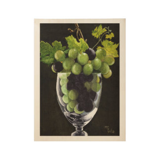 Blue and Green Grapes Wood Poster