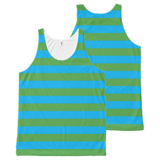 Blue and Green Horizontal Stripes All-Over Print Singlet
