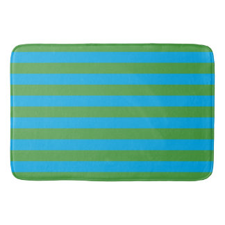 Blue and Green Horizontal Stripes Bath Mat