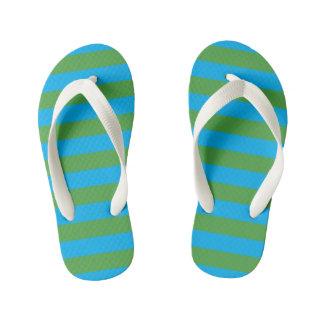 Blue and Green Horizontal Stripes Kid's Thongs