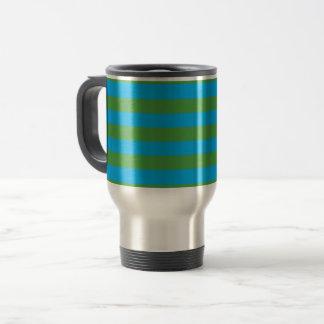 Blue and Green Horizontal Stripes Travel Mug