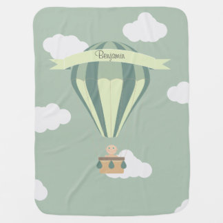Blue and green hot air balloon personalized pramblanket