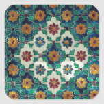 Blue and Green India Pattern Square Sticker