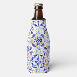 Blue and green kaleidoscope pattern bottle cooler