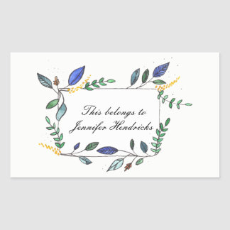Blue and Green Leaf Decorated Bookplate Rectangular Sticker