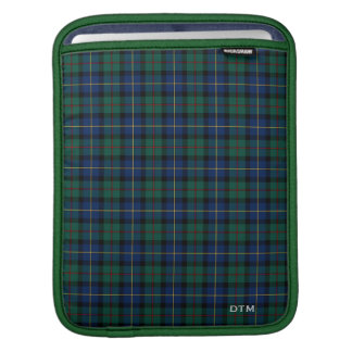 Blue and Green MacLeod of Skye Tartan Monogram iPad Sleeve