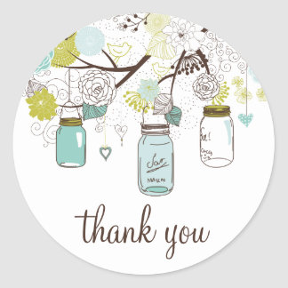 Blue and Green Mason Jars Thank You Sticker