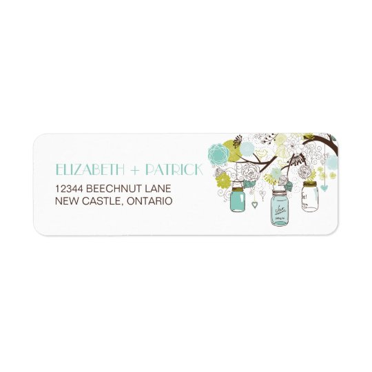 Blue and Green Mason Jars Wedding Address Label