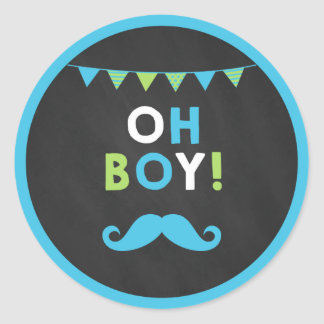 Blue and Green Mustache Little Man Cupcake Toppers Round Sticker