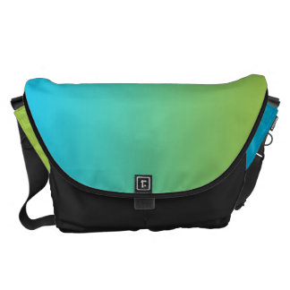 Blue And Green Ombre Large Messenger Bags