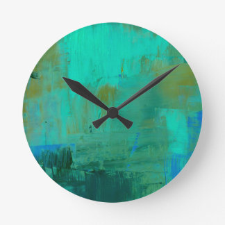 Blue and Green Painting Wall Clock Abstract Art