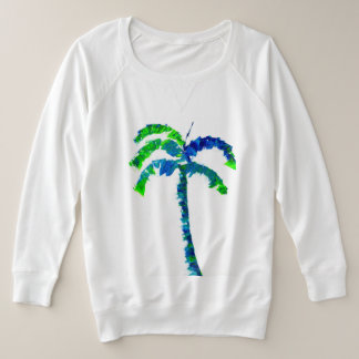 Blue and Green Palm Tree Plus Size Sweatshirt
