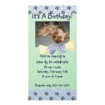 Blue and Green Paw Print Birthday Invitation Personalised Photo Card