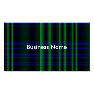 Blue and Green Plaid Checked Pack Of Standard Business Cards