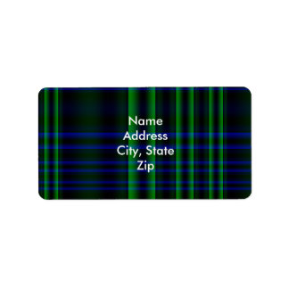 Blue and Green Plaid Checked Personalized Address Labels