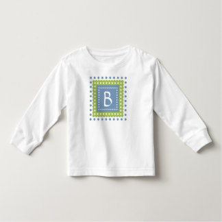 Blue and Green Polka Dot Tile Monogram Toddler T-Shirt