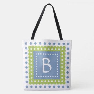 Blue and Green Polka Dot Tile Monogram Tote Bag