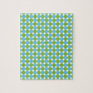 Blue and green polka dots pattern jigsaw puzzle