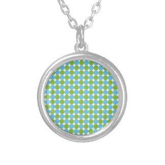 Blue and green polka dots pattern silver plated necklace