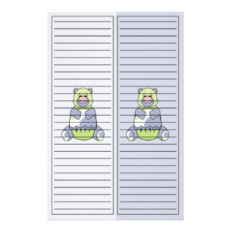 Blue And Green Polkadot Bear Stationery Paper