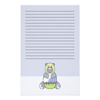 Blue And Green Polkadot Bear Customised Stationery