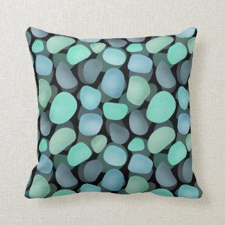 Blue and green sea pebbles cushion
