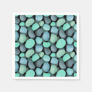 Blue and green sea pebbles disposable napkin