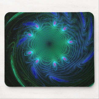 Blue And Green Space Wave Mouse Pad