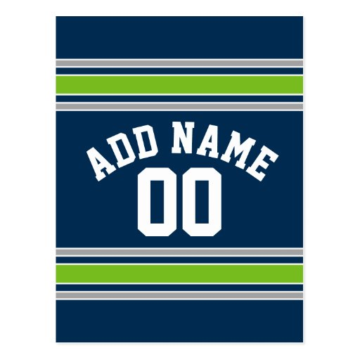 Blue and Green Sports Jersey Custom Name Number Post Card