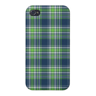 Blue and Green Sporty Plaid iPhone 4/4S Case