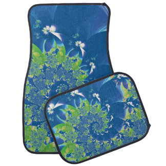 Blue and Green Spring Spiral Fractal Car Mat