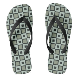 Blue-and Green Square Pattern Flip-Flops Thongs