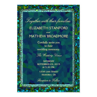 Blue and Green Stained Glass Look 13 Cm X 18 Cm Invitation Card