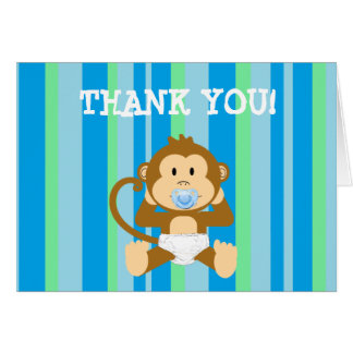 Blue and Green Striped Monkey Thank You Notes