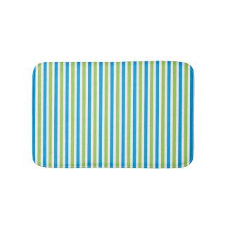 Blue and green striped pattern modern bath mat