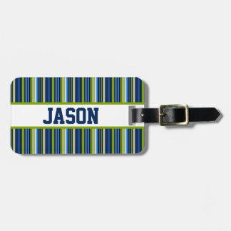 Blue and Green Stripes with Personalized Name Luggage Tag