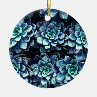 Blue And Green Succulent Plants Ceramic Ornament