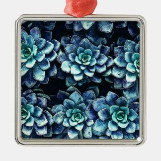 Blue And Green Succulent Plants Metal Ornament