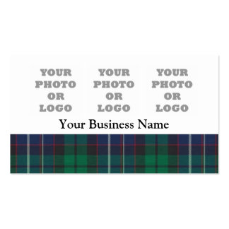Blue and green tartan plaid pack of standard business cards
