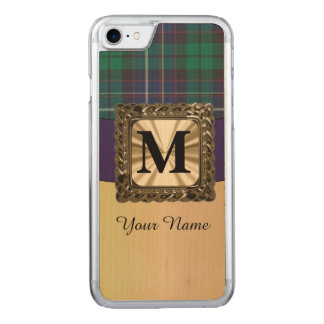 Blue and green tartan plaid monogram carved iPhone 7 case
