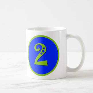 Blue and Green Toddler Two Year Birthday Basic White Mug