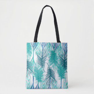 Blue and green tropical palm leafs. Trendy print Tote Bag